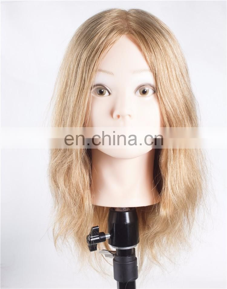 Salon Clear Mannequin Heads With Hair For Braiding,Blond Color Wavy Style Training Head Mannequin