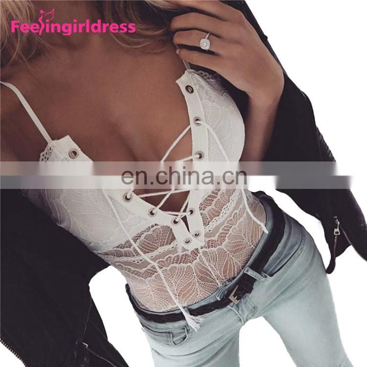 Latest Design White Back Lace Up Sexy Women Design Your Own One Piece Bodysuit