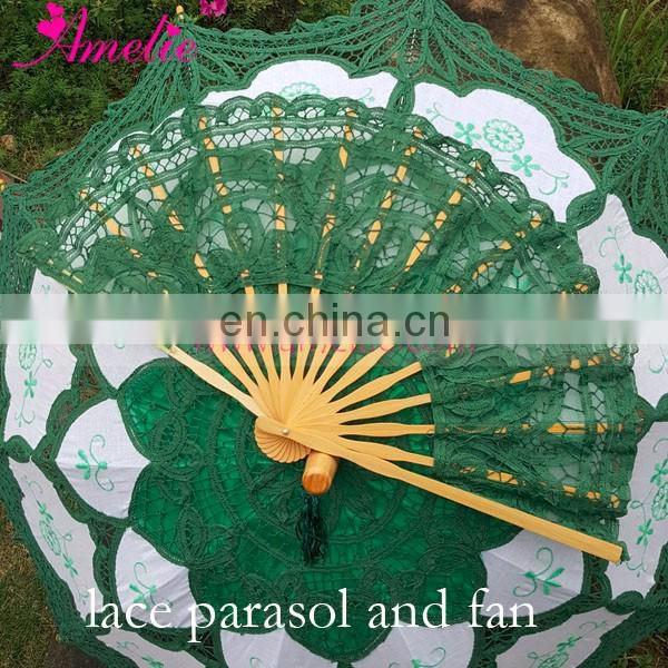 Dark Green Color Cotton Wedding Umbrella Balinese Lace Parasol and Fan Set