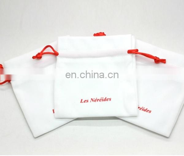 Small Size Red Logo Printed on White Velvet Jewelry Pouch