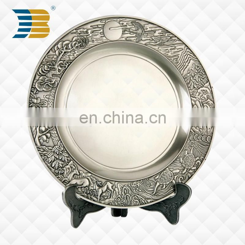 high quality custom shape custom engraved logo souvenir metal plate in stock