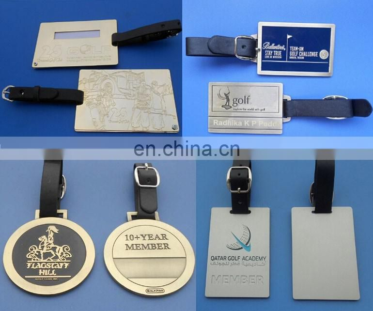 engraved personalized logo metal luggage tag with strap