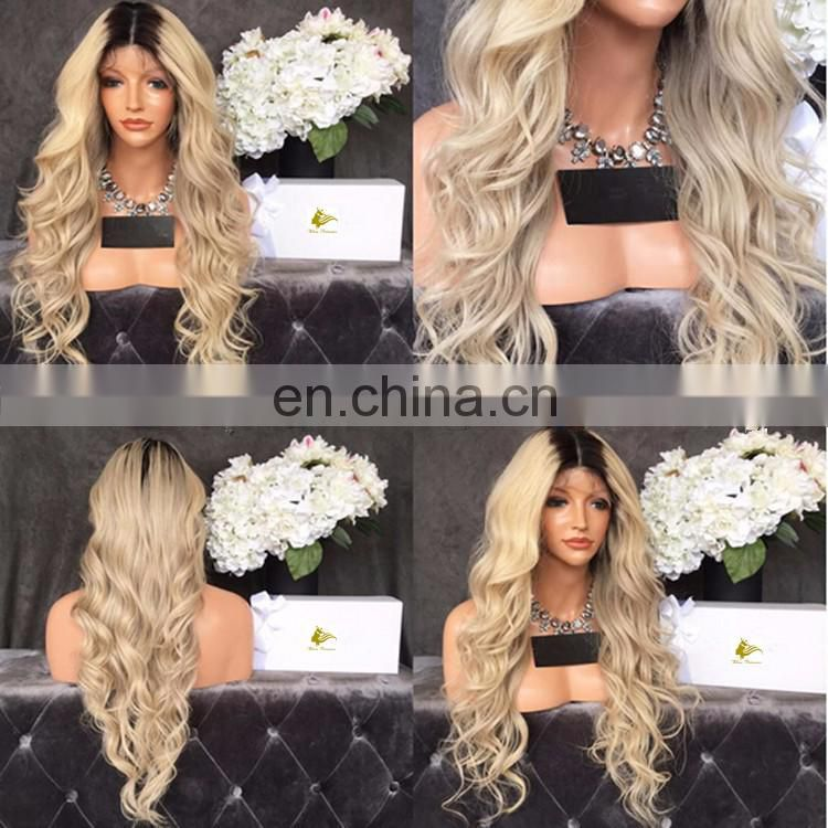 The Virgin Hair Full Lace Wig With Clips White Color #60 Full Lace Ombre Wig Brazilian Irish Dance Wig With Baby Hair