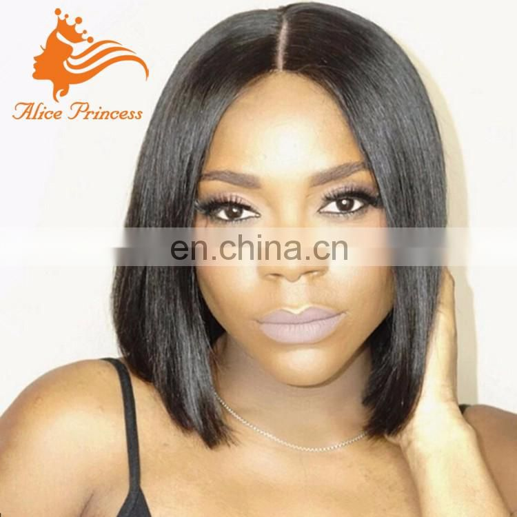 10Inch Brazilian Short Hair Silk Top Lace Wig 7A Straight Human Hair Front Lace Bob Wig For Black Women