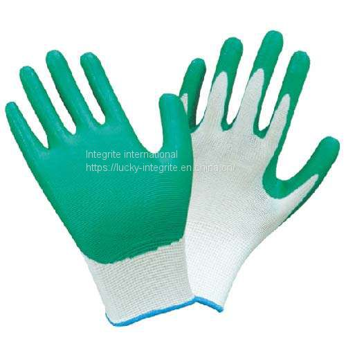 Work Light Duty Nylon Industry Crinkle Latex Rubber Palm Hand Protection Coated Machinist Safety Gloves Image