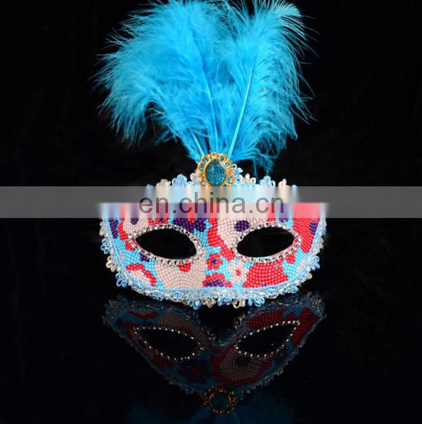 Wholesale Price Halloween Bule Feather Decoration Venice Masks
