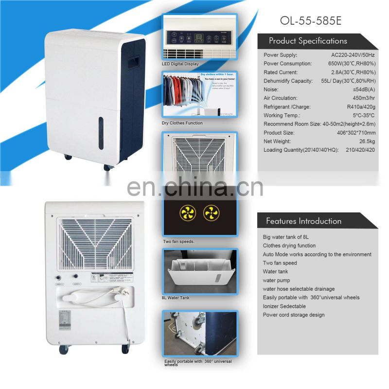 interior portable home auto defrost dehumidifier with function power off memory