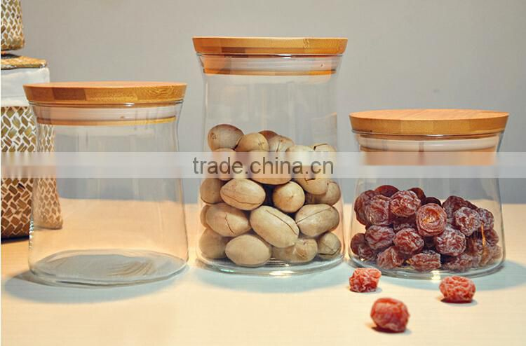 High-end borosilicate Glass canisters with bamboo Lid
