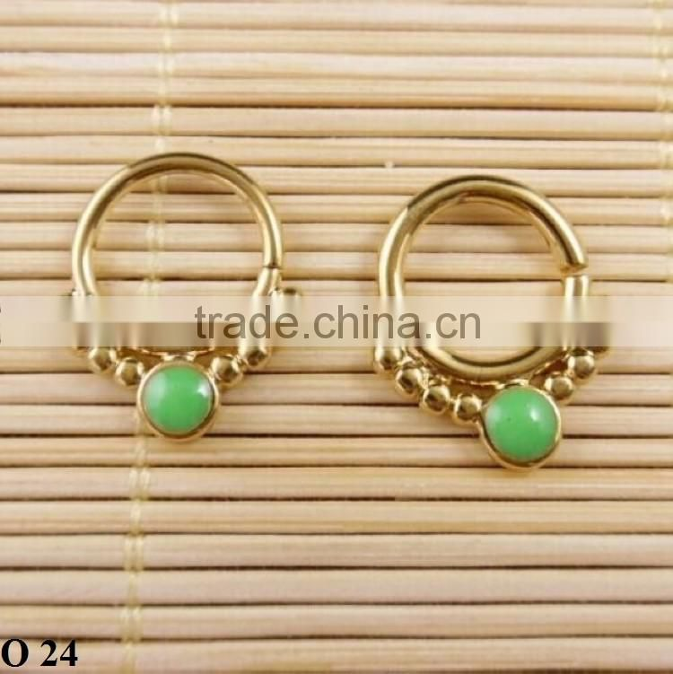 Fashionable green gemstone nose rings nose hoop wholesale O 24
