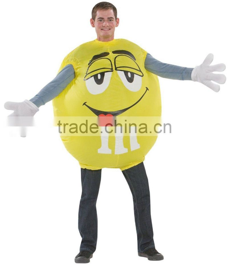 M&M Adult Size Yellow Airblown Inflatable Ball Costume NEW