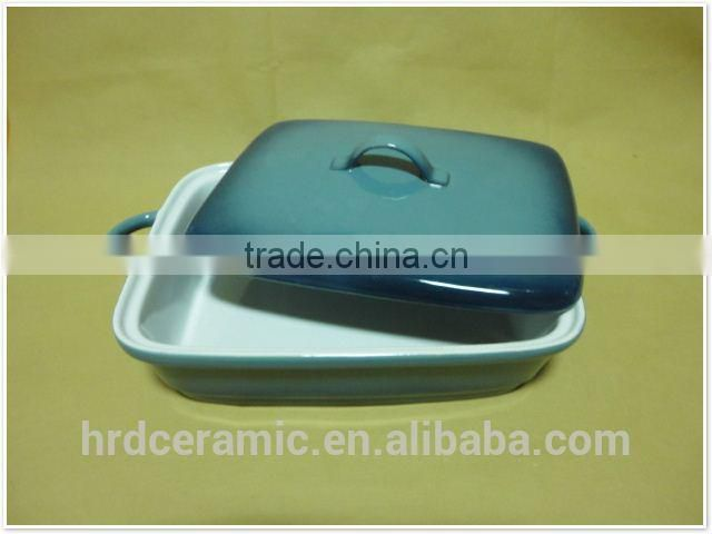 porcelain ovenware with handles Square shape ceramic bakeware with lid