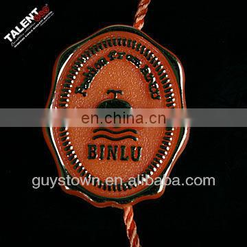 custom brand plastic seal lock name tag string for garment hang tag