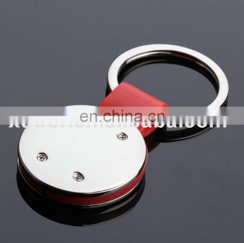 Promotional gift round metal custom red rubber keychains