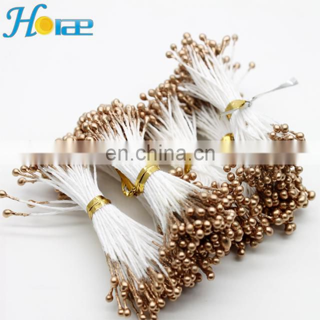 Wholesale 6cm length pearlized flower stamen artificial gold color stamen for DIY