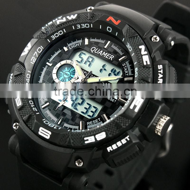 Fashion Men's Black Analog Digital Dual Rubber Sport Watch WS056