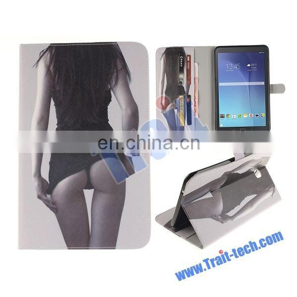 Sexy Woman Pattern Soft TPU+ PU Leather Antiscratch Full Body Case for Samsung Galaxy Tab E 9.6 T560