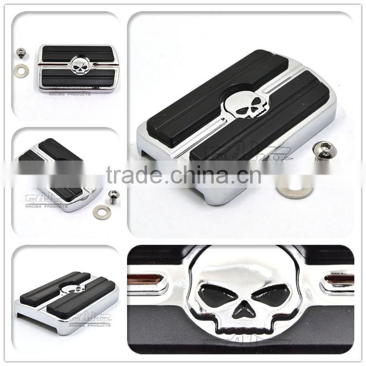 BJ-FP216-052 Billet Aluminum Skull Large Motorcycle Brake Pedal Pad Cover For 1980-up Harley Touring FLD