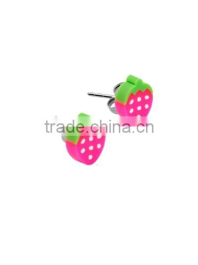 2016 hot sale 316L surgical stainless steel ear studs Fruits wholesale body piercing jewelry Image