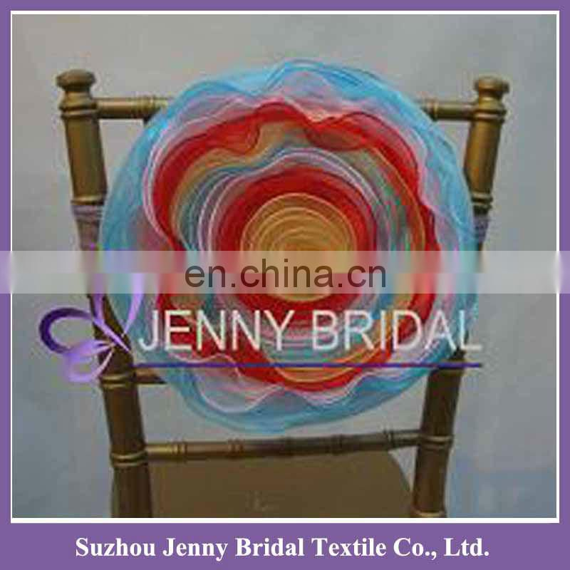 FL005D artificial organza chair cover decoration flower