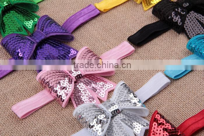 Girls sequins bow hairband for hair dress,bling cheerleader sequin hair bow,school girls bow hair accessory MY-AC0006