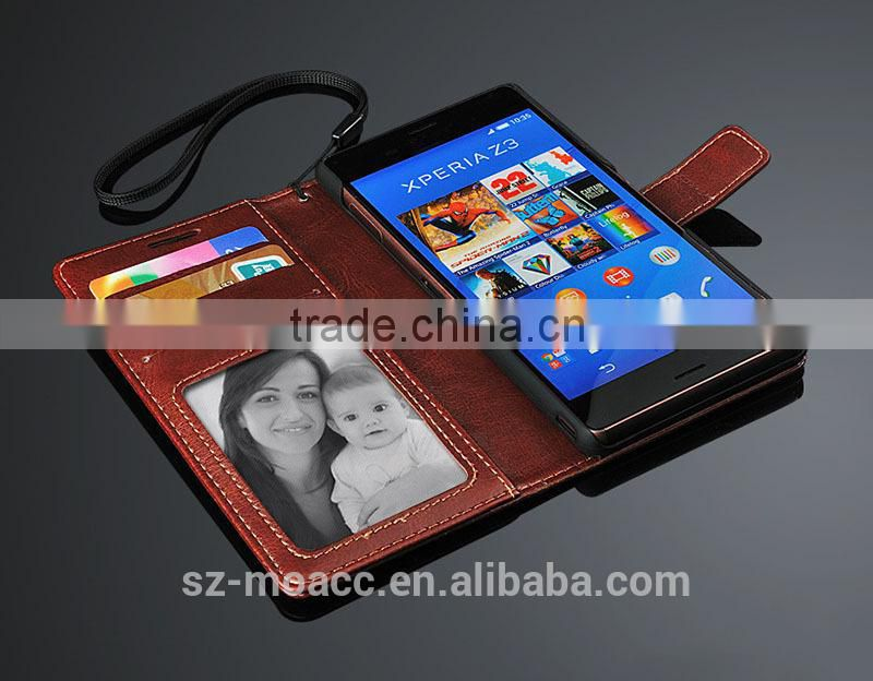 Crazy Horse leather mobile phone case for sony xperia z3 with card holder