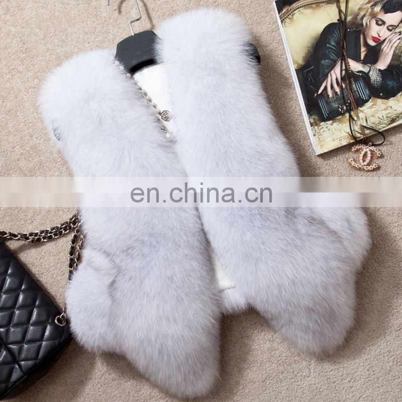 White color real fur clothing top quality fox fur gilet suits for warm