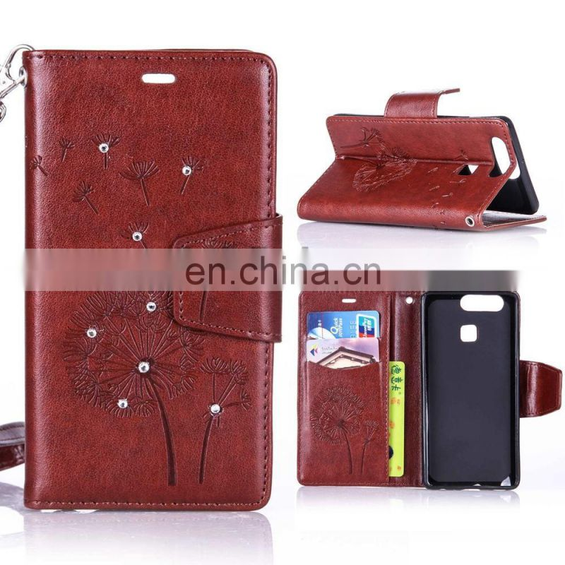 2017 Diamond Studded Wrist Strap Wallet Style Card Slots Stand Magnetic Flip PU leather Case for Huawei Ascend P9