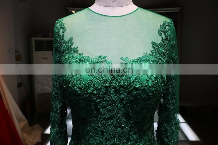 2016 long lace sleeve grass green mermaid ball gown evening dress