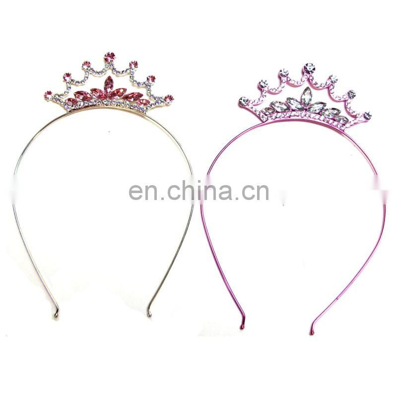 Gold or Neon pink AB rhinestone Pointed crown girl's fashion party headband prom headwear ornament jewelry