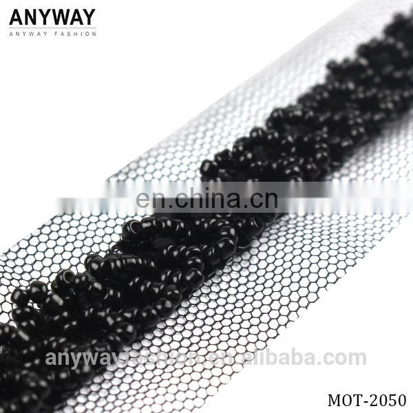 Beaded Lace Trim in black for Bridal Headbands Crafts