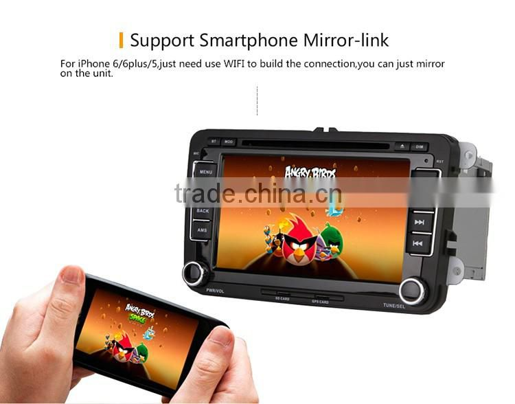Cheap 4 Channel Sub woofer Audio touch screen car dvd player with GPS for VW skoda