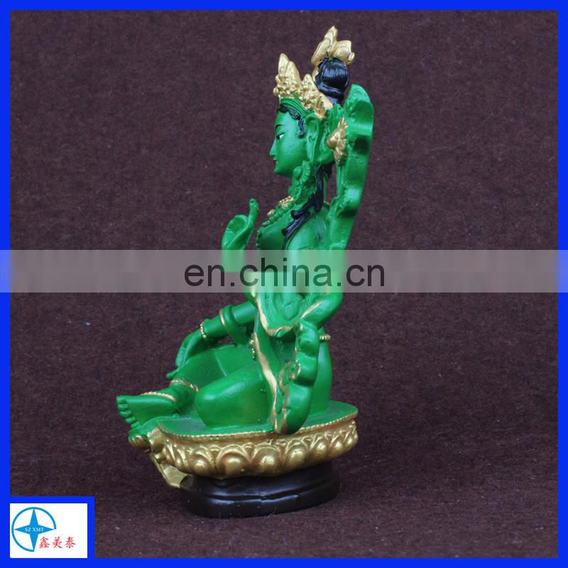resin green sitting Tara buddha statue desk decoration