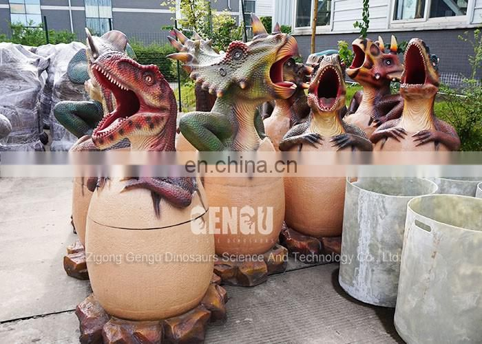 Outdoor playground Decoration Fiberglass Dinosaur Trash Bin