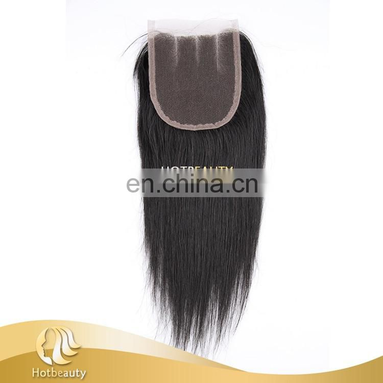 Hot sell top lace closure three part silky straight brazilian hair lace closure, grade 7a virgin hair