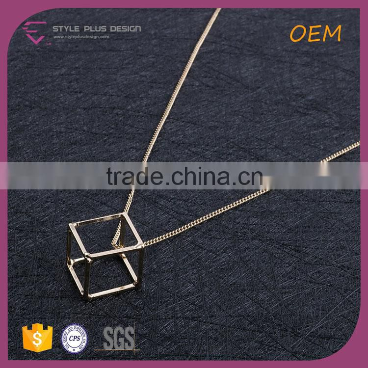 N72491I01 STYLE PLUS long elegant necklace pendant chain necklace jewelry gold plating square pendant for women