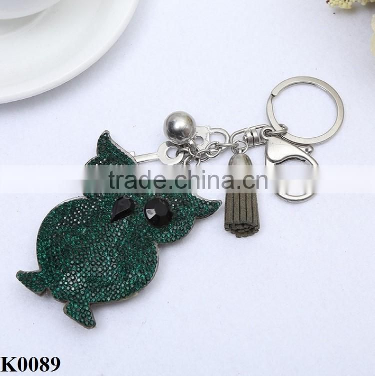 Cute Owl Crystal Charm Purse Handbag Car Key Keyring Keychain Dark Green Keychain K0089