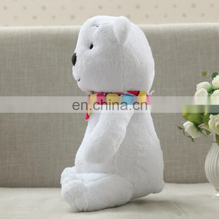 Christmas Plush Toy White Teddy Bear Custom Stuffed Animals