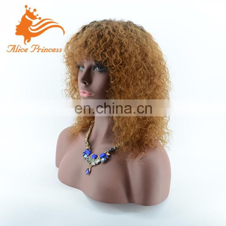 Ombre Blonde Curly Peruvian 100% Human Hair Wigs With Bangs Two Tone Color Ombre Lace Front Wig