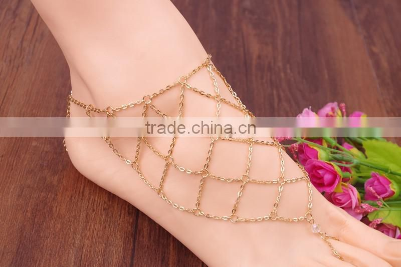 Foot chain diamond mesh barefoot sandals anklet