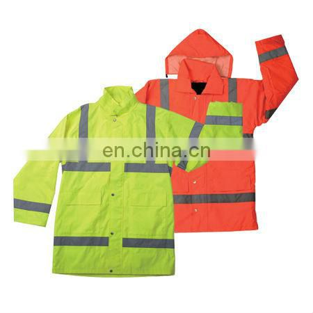 Hi-Vis Waterproof Yellow Rain Jacket with two pockets