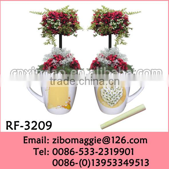 Elegant Flora Designed 12oz Belly Shape Promotion Ceramic Flower Pots Wholesale