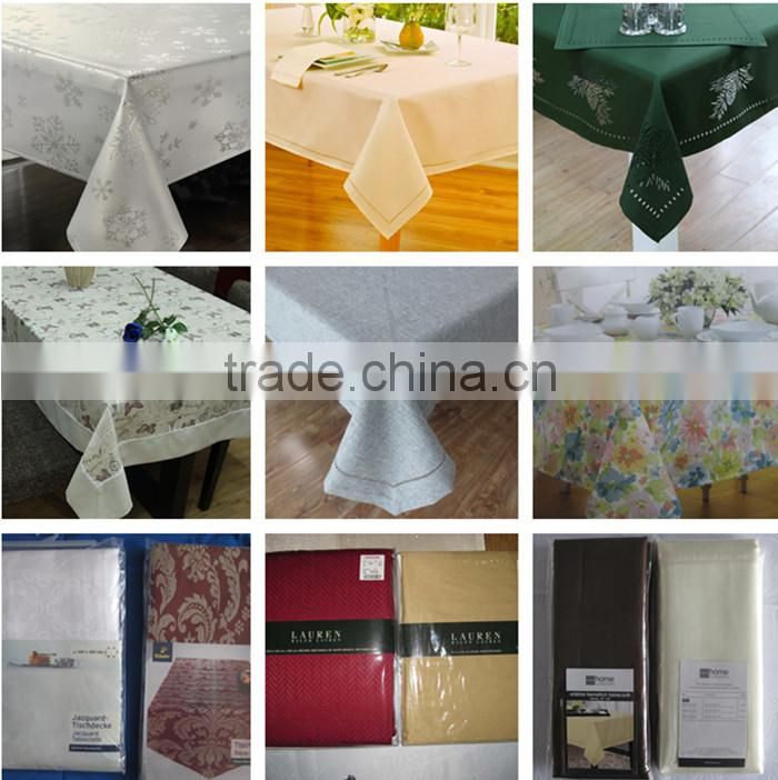 100% Polyester TC CVC Table Cloth WITH RUFFLES,LACE,WATER RESISTANT ,HEAT RESISTANT,WATER PROOF
