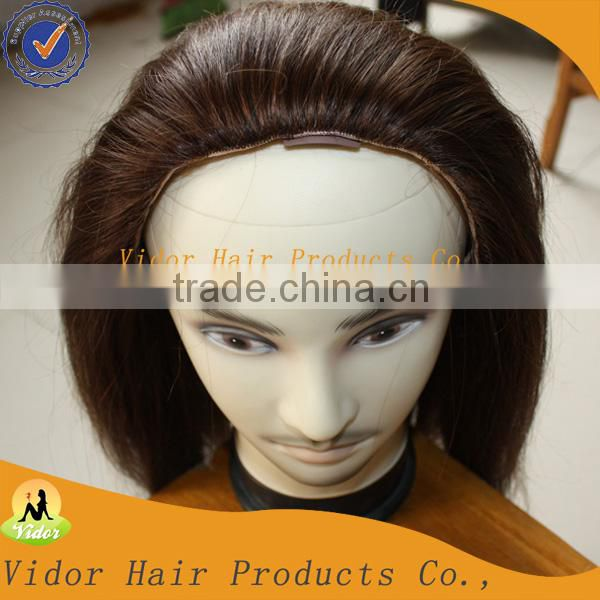 Wholesale price 5A quality 100% virgin half wig Body wave brazilian human hair extension