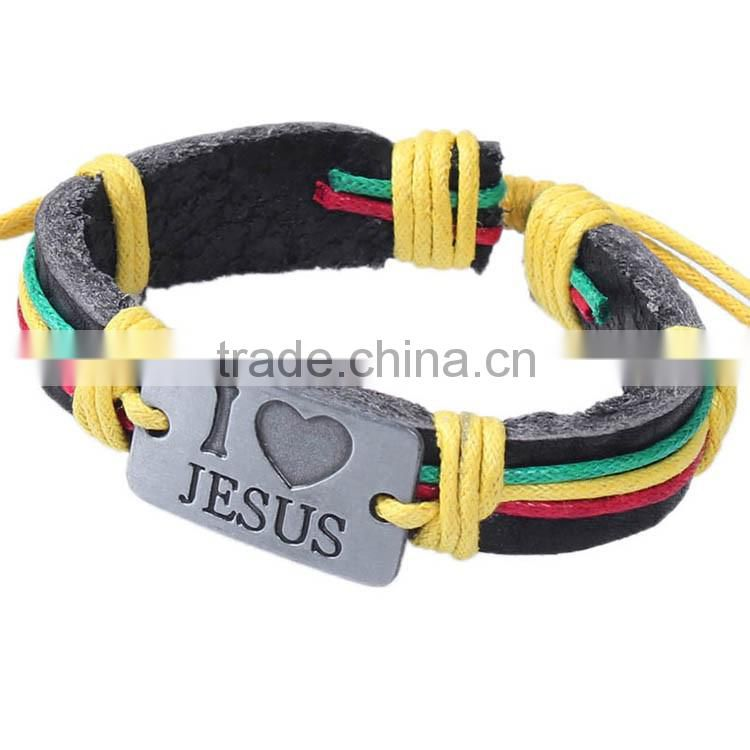 <<<2015 fashion jewelry new products jesus leather bracelet loves alloy braided leather hemp rope bracelets lovers accessories/
