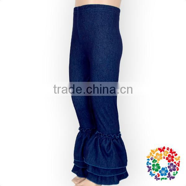 New Arrival Elastic Denim Baby Icing Ruffle Leggings Pants 0-6 Years Old Tight Baby Girl Jeans