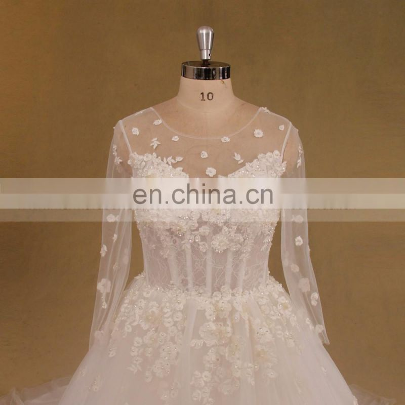 Long Sleeves Lace Real pictures Beaded Open Back wedding dress 2017