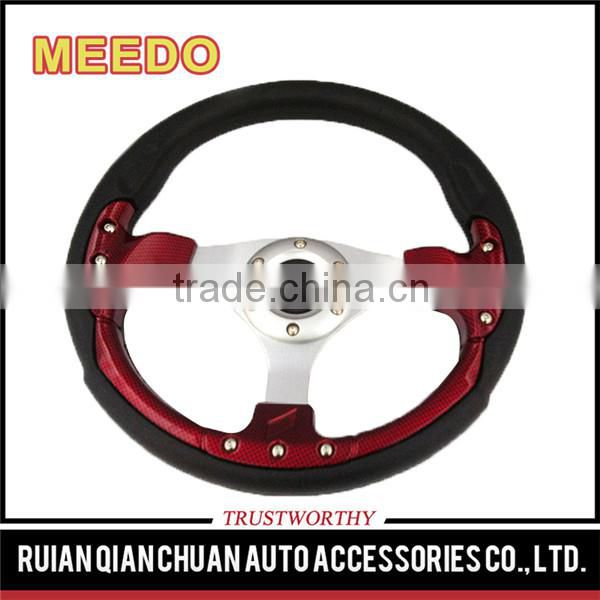 Fashion style Universal Auto Accessories PU Red/Blue/Black 350mm/14inch OEM Modified F1 Racing Car Steering Wheels for ATV UTV
