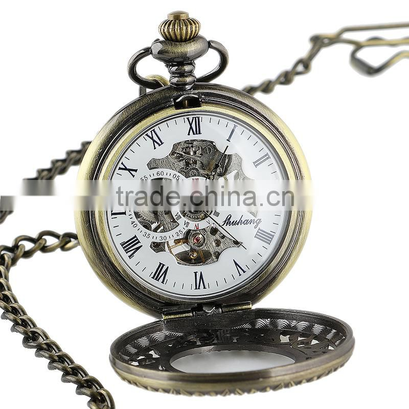 Men Black Custom Pocket Watch Skeleton Mechanical Pocket Watch WP127