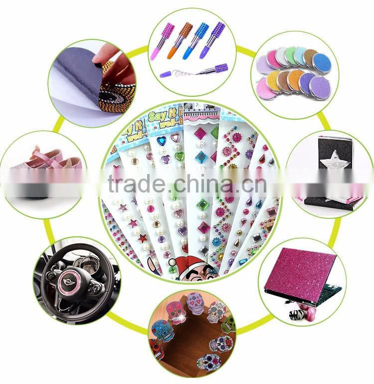 Set Of 4 Stick On Self Adhesive Gems Colorful Rhinestones,DIY Peel Off Jewels Pearls Sticker Sheet