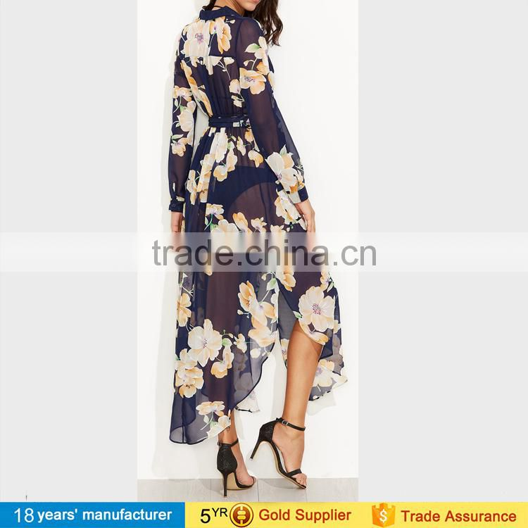 2017 sexy Long sleeve bohemian floral print self tie surplice wrap chiffon sheer dresses for women beach cover up